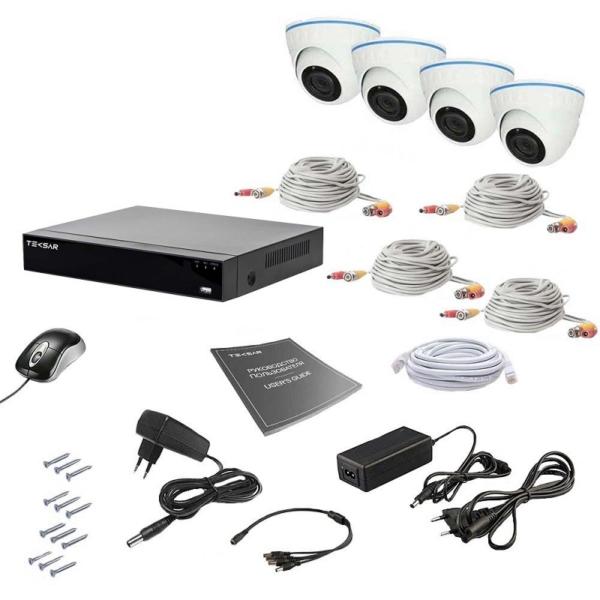 Відеонагляд/Комплекти відеоспостереження Комплект відеоспостереження Tecsar AHD 4IN 2MEGA