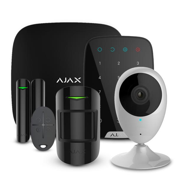 Охоронні сигналізації/Комплекти сигналізацій Комплект сигналізації Ajax StarterKit + KeyPad black + Wi-Fi камера 2MP-H