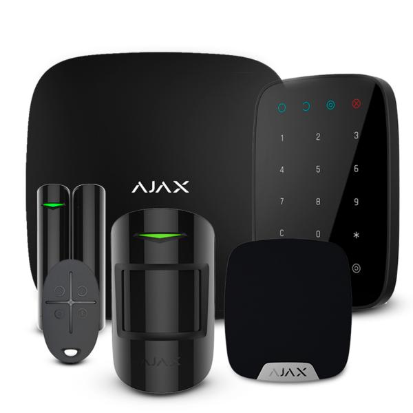 Охранные сигнализации/Комплекты сигнализаций Комплект беспроводной сигнализации Ajax StarterKit + KeyPad + HomeSiren black
