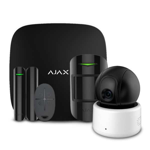 Охранные сигнализации/Комплекты сигнализаций Комплект беспроводной сигнализации Ajax StarterKit black + Wi-Fi камера 2MP-D
