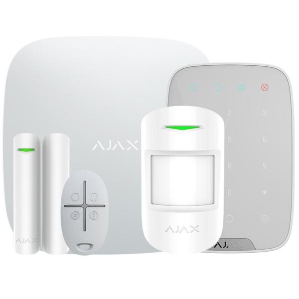 Охранные сигнализации/Комплекты сигнализаций Комплект беспроводной сигнализации Ajax StarterKit + KeyPad white