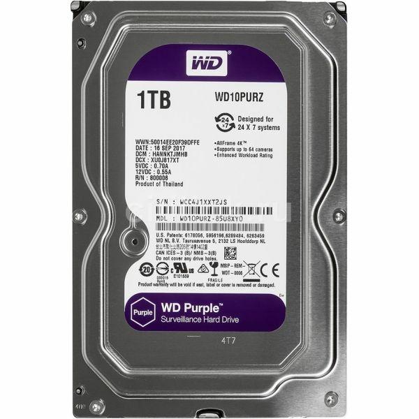 Видеонаблюдение/Жесткие диски (HDD) для видеонаблюдения Жесткий диск Western Digital Purple WD10PURZ 1 TB