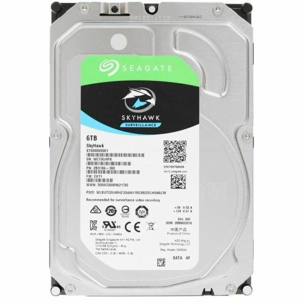 Видеонаблюдение/Жесткие диски (HDD) для видеонаблюдения Жесткий диск Seagate Skyhawk ST6000VX001 6 TB