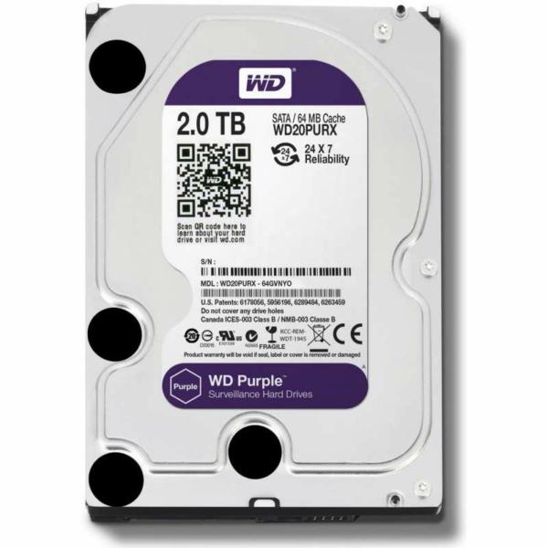 Видеонаблюдение/Жесткие диски (HDD) для видеонаблюдения Жесткий диск Western Digital Purple WD20PURX 2 TB