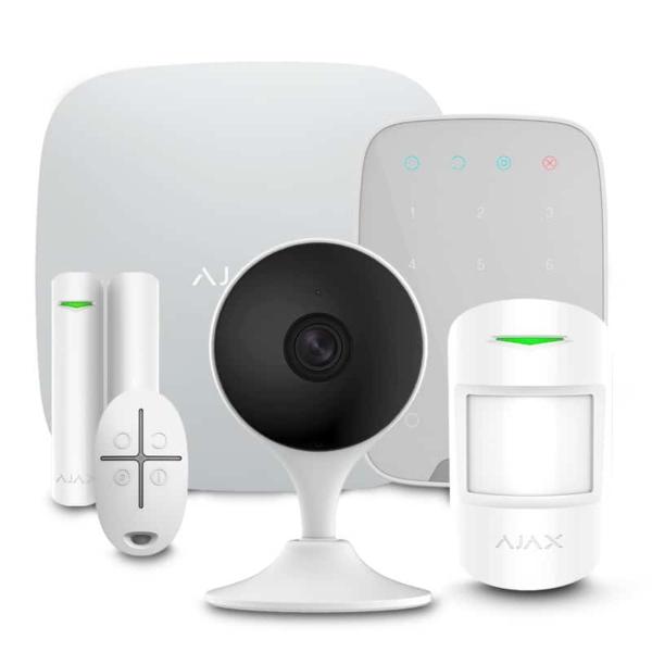 Охранные сигнализации/Комплекты сигнализаций Комплект сигнализации Ajax StarterKit + KeyPad white + Wi-Fi камера 2MP-C22EP