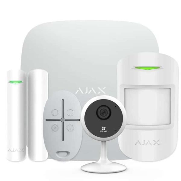 Охранные сигнализации/Комплекты сигнализаций Комплект беспроводной сигнализации Ajax StarterKit white + Wi-Fi камера 1MP-C1C