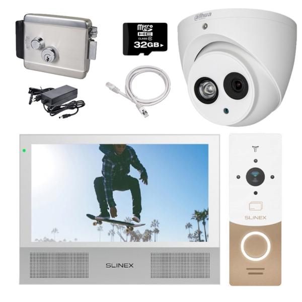 Домофоны/Видеодомофоны Комплект видеодомофона Slinex HD-KIT W + CAM + LOCK premium