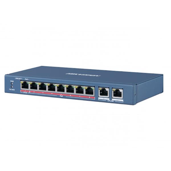 Мережеве обладнання/Комутатори 8-портовий PoE комутатор Hikvision DS-3E0310HP-E некерований