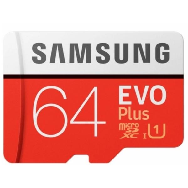 Відеонагляд/Карти пам'яті MicroSD Карта пам'яті Samsung 64ГБ microSDXC C10 UHS-I U1 R100/W20MB/s Evo Plus V2 + SD адаптер (MB-MC64HA/RU)