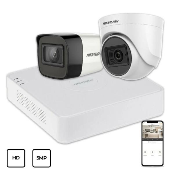 Відеонагляд/Комплекти відеоспостереження Комплект відеоспостереження Hikvision HD KIT 2x5MP INDOOR-OUTDOOR