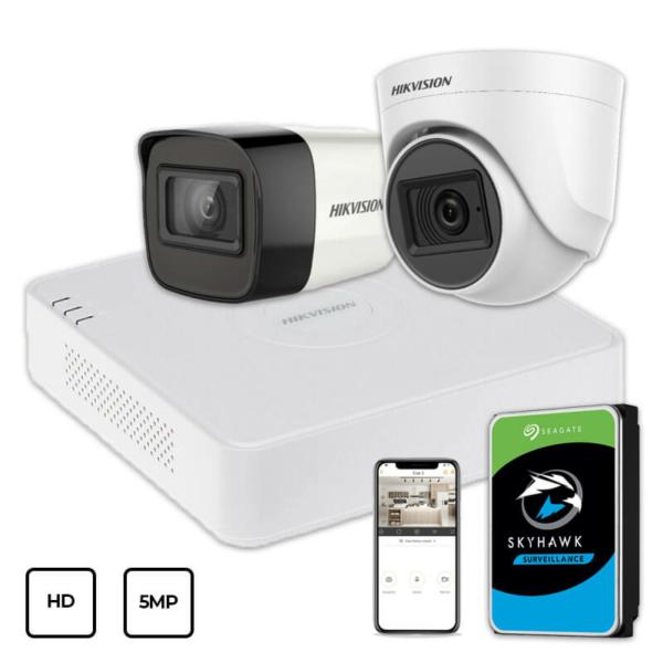 Video surveillance/CCTV Kits Video Surveillance Kit Hikvision HD KIT 2x5MP INDOOR-OUTDOOR + HDD 1TB