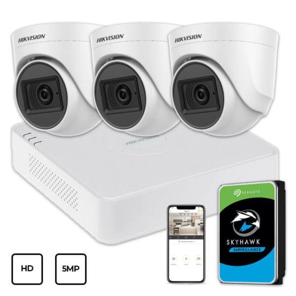 Відеонагляд/Комплекти відеоспостереження Комплект відеоспостереження Hikvision HD KIT 3x5MP INDOOR + HDD 1TB