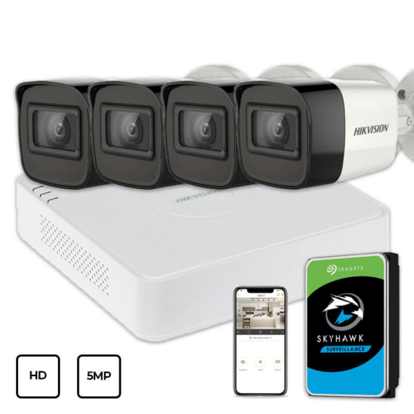 Відеонагляд/Комплекти відеоспостереження Комплект відеоспостереження Hikvision HD KIT 4x5MP OUTDOOR + HDD 1TB