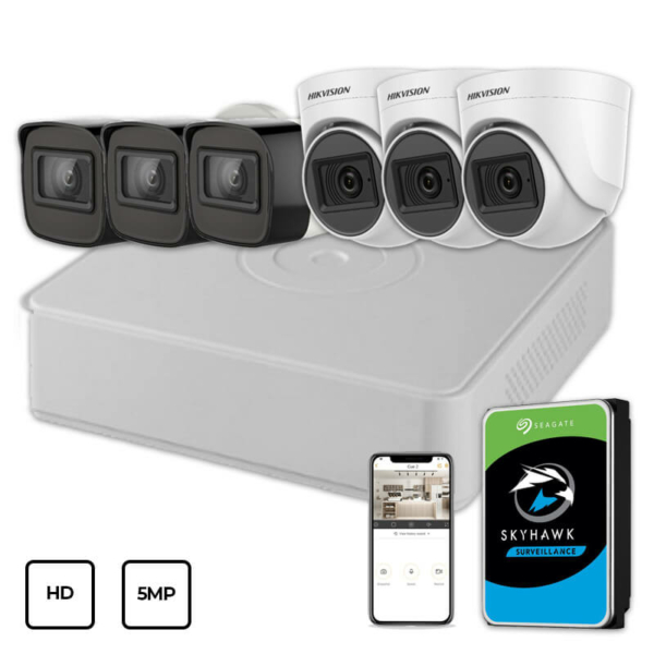 Видеонаблюдение/Комплекты видеонаблюдения Комплект видеонаблюдения Hikvision HD KIT 6x5MP INDOOR-OUTDOOR + HDD 1TB