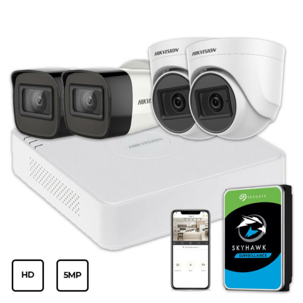 Video surveillance/CCTV Kits Video Surveillance Kit Hikvision HD KIT 4x5MP INDOOR-OUTDOOR + HDD 1TB