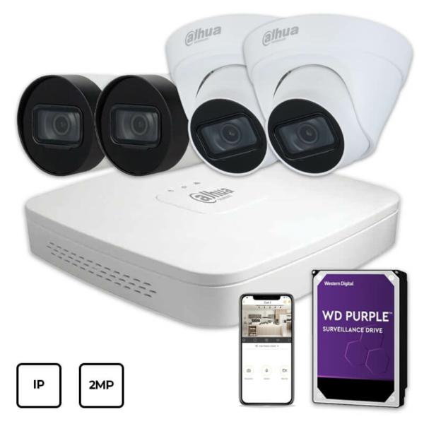 Відеонагляд/Комплекти відеоспостереження Комплект IP відеоспостереження Dahua IP KIT 4x2MP INDOOR-OUTDOOR + HDD 1TB