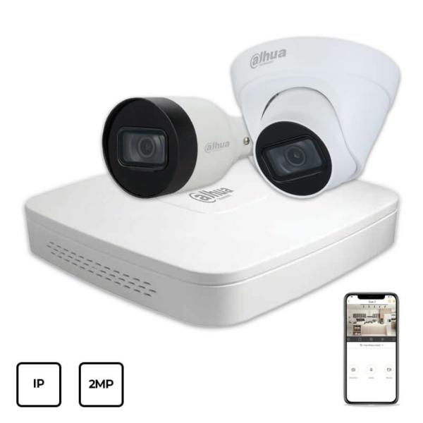 Відеонагляд/Комплекти відеоспостереження Комплект IP відеоспостереження Dahua IP KIT 2x2MP INDOOR-OUTDOOR