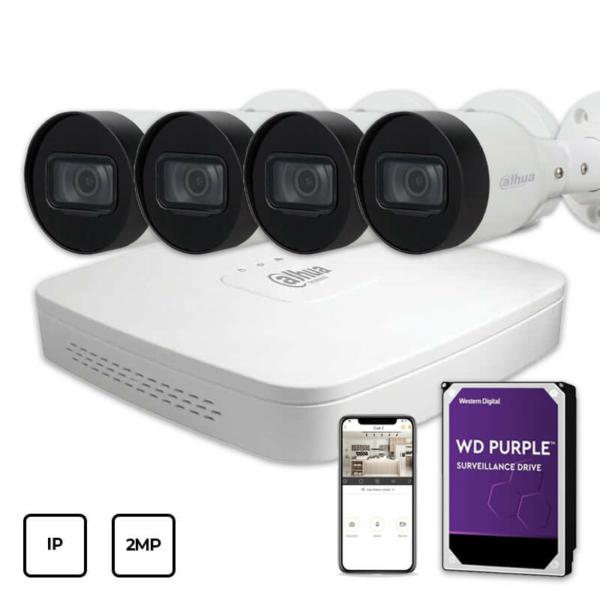 Відеонагляд/Комплекти відеоспостереження Комплект IP відеоспостереження Dahua IP KIT 4x2MP OUTDOOR + HDD 1TB