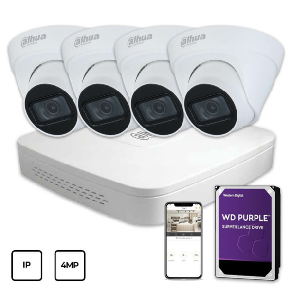 Video surveillance/CCTV Kits IP Video Surveillance Kit Dahua IP KIT 4x4MP INDOOR + HDD 1 TB